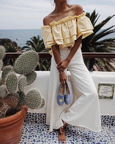 Vacation Outfit , Cute Vacation Outfit, Cute Warm Weather Outfit, Blogger Style, Blogger Fashion, Travel Blogger Style, Yellow Top, Off The Shoulder Top, OTS Top, White Pants