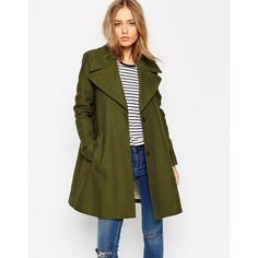 ASOS Trapeze Coat with Oversized Collar ($128) ❤ liked on Polyvore featuring outerwear, coats, green, fur-lined coats, asos coats, trapeze coat, cotton coat and swing coat