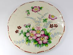 Mikori Ware, Large Cheese Dish and Platter, Antique Japanese Cheese Dome 12710 Japanese Cheese, Cheese Dome, Cheese Dishes, Modern Art Deco, Platter, All The Colors, Chips, Hand Painted, Bright