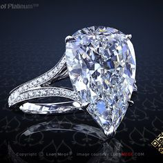 Absolutely unique pear shaped engagement ring with split shank by Leon Mege…