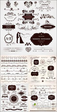Векторный клипарт для свадебных пригласительных и дизайна меню