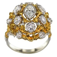 BUCCELLATI Diamond and Gold Dome Ring. Circa 1970s