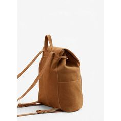 MANGO Lapel Leather Backpack (560 DKK) ❤ liked on Polyvore featuring bags, backpacks, decorating bags, real leather backpack, leather strap backpack, white bag and leather daypack