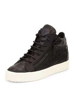X2QEX Giuseppe Zanotti Croc-Embossed Low-Top Sneaker, Black
