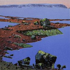 Nerli, Rolf - Vår i fjellet Scandinavian Art, Printmaking, Stencils, Mixed Media, Mountains, Water, Travel, Outdoor, Stencil