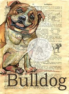 PRINT: Bulldog Mixed Media Drawing on Antique Dictionary by Kristy Patterson at Flying Shoes Art Studio in Guymon, Oklahoma