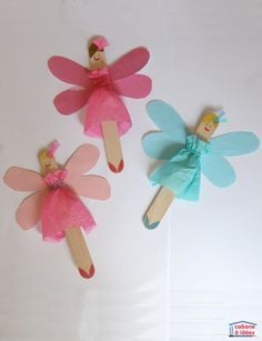 Fairies Turn popsicle sticks into beautiful fairies! This cute craft uses large popsicle sticks, tissue paper, loom bands and glue.Turn popsicle sticks into beautiful fairies! This cute craft uses large popsicle sticks, tissue paper, loom bands and glue. Bunny Crafts, Cute Crafts, Craft Stick Crafts, Diy And Crafts, Craft Ideas, Fun Ideas, Unicorn Crafts, Preschool Crafts, Wood Crafts