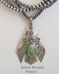 Buffalo Ingot silver & turquoise thunderbird pendant | Schaef Designs | New Mexico