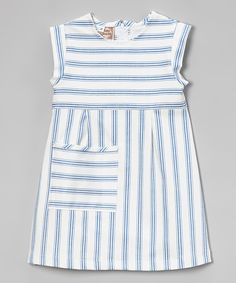 Blue Stripe Twill Pocket Dress - Toddler & Girls | something special every day