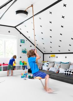 Kids Playroom, Cool Black And White Attic Playroom With Swing: Beautiful Playrooms with Big Toys Attic Playroom, Playroom Design, Attic Rooms, Garage Attic, Attic Library, Attic Closet, Attic Design, Attic Apartment, Attic Bathroom