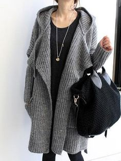 4732c2f423 Woven Casual Hooded Pockets Cardigan Specification   Color  Grey Size  One  Size Sleeve Length  Long Sleeve Neckline  Hooded Pattern  Solid Color  Material  ...