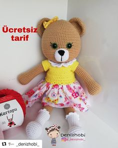 As promised, I share the recipe of my teddy bear. Crochet Teddy, Crochet Toys, Pet Toys, Baby Toys, Crochet Bear Patterns, Best Kids Toys, Amigurumi Doll, Stuffed Toys Patterns, Handmade Toys