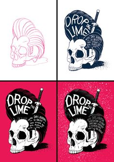 Illustrations, skulls, typography - Drop The Lime Poster by Ian Jepson, via Behance - Drop The Lime Poster by Ian Jepson, via Behance