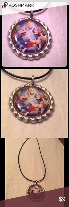 """NWOT Alice in Wonderland characters NWOT Alice in Wonderland Characters necklace. 18"""" faux leather cord bottle cap necklace Jewelry Necklaces"""