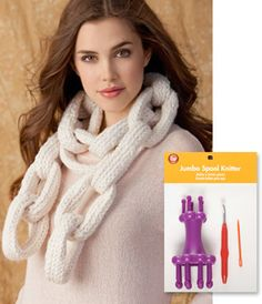 Spool Knit Chain Link Scarf Designed by Brenda Myers As seen in Jo-Ann© FASHIONfusion Magazine