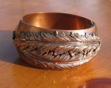 Vintage 1950's Whiting and Davis Wide Copper Hinged Repousse Cuff Bracelet from WhimsicalVintage on Ruby Lane