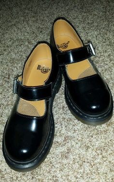 Womens Doc Dr. Martens Martins Black Patent Leather Mary Janes size UK 4 US 6 #DrMartens #MaryJanes