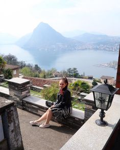 ROXANE - Travel : Discovering Switzerland and loving Lugano. The view from the Monte Brè is just stunning. As always, I am sporting a midi dress, black leather jacket, sneakers and a Night&Day bag by De Marquet. Visit Switzerland, Lugano, Day Bag, Day For Night, Dress Black, Chloe, Black Leather, Leather Jacket, Sneakers