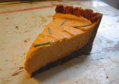 goat cheese pumpkin pie, by cara at yummybooks. can't wait to whip this up & impress my parents over the holidays.