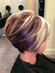 Unique short hairstyle colors for your hair Hair color is as important as your hair and if you want to achieve a new stylish look for your hair, you should Line Bob Haircut, Haircut And Color, Reverse Bob Haircut, Stacked Bob Hairstyles, Cool Hairstyles, Medium Hairstyles, Hairstyle Ideas, Hairstyles 2018, Pixie Hairstyles