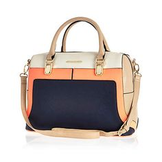 Navy colour block bowler bag - shoulder bags - bags / purses - women