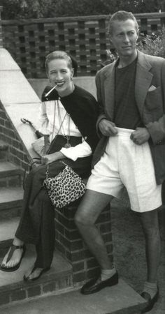 Diana and Reed Vreeland. Note her leopard print bag. The sandals are those she had made in Capri after viewing the famed pornographic wall paintings at Pompeii. Restricted to male tourists at the time, D.V. obtained special permission from Mussolini. And amongst the painted figures was a slave whose duties included satisfying the lady of the house, wearing the simplest thong sandal as befit his status. The Capri sandal was born.