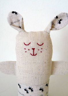 Puppy dog soft toy rattle Linen and ant fabric by edwardandlilly, $28.00