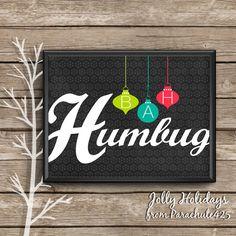 Christmas Art Print BAH HUMBUG mid century modern by Parachute425