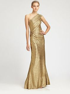David Meister - One-Shoulder Metallic Gown - Saks.com