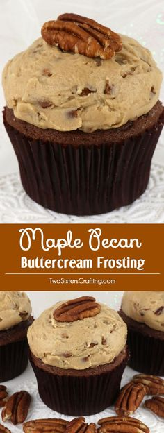 Maple Pecan Buttercream Frosting - creamy, crunchy and delicious this unique Fall frosting will be wonderful on any cookie, cupcake or cake you make this Fall. This wonderful homemade icing recipe is super yummy and so easy to make.  Pin this Thanksgiving dessert for later and follow us for more great Frosting recipe ideas.