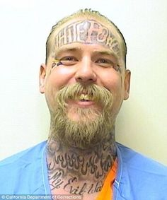 A convicted murderer with a 'White Power' tattoo on his forehead has been sentenced to his second life term for killing a fellow inmate to 'avenge' the death of a nine-year-old girl.  Frank Souza, 33, who was already set to spend the rest of his life behind bars pleaded guilty to stabbing Edward John Schaefer, 44, in the neck and chest with an improvised knife 10 days after he arrived in San Quentin State Prison in July 2010. The attack was carried out by Souza to avenge Melody Osheroff.
