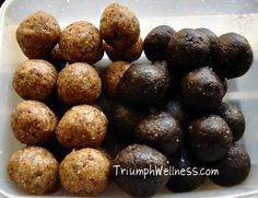 Healthy Brownie and Peanut Butter Oat Balls!  No sugar, no flour, vegan. My kids go CRAZY for these and are a great afterschool snack.