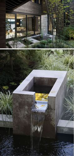 In this small and modern courtyard, there's a concrete water feature and plants that can be viewed from both levels of the home. #Courtyard #Landscaping #WaterFeature #FunkyHomeDecor