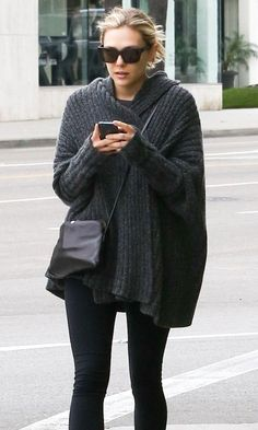 Elizabeth Olsen // sunglasses, ribbed oversized grey sweater, cross body bag & tights #style #fashion #celebrity