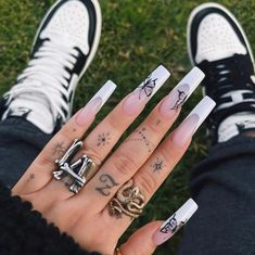 French Tip Acrylic Nails, Long Square Acrylic Nails, Bling Acrylic Nails, Acrylic Nails Coffin Short, White Acrylic Nails, Best Acrylic Nails, Long French Tip Nails, Halloween Acrylic Nails, Edgy Nails