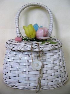 Vintage 1970s Child's Easter Basket purse with plastic pastel flowers #Vintage