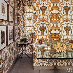 Baroque fabric walls make for one seriously chic bathroom | Vogue Brazil Editor Donata Meirelless's São Paulo House in Architectural Digest