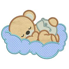 Baby bear3 Applique Design 8 sizes included.Machine embroidery design. Bear Embroidery design PES,Ki