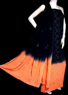 ISHIEQA's Pure Georgette Black-Orange Mukaish Dress Material-MV1508D Buy Fabric Online, Morning Flowers, Anarkali Dress, Green Cotton, Salwar Suits, Orange, Yellow, Green Dress, Cotton Dresses