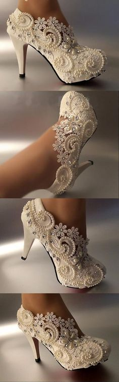 Wedding Shoes And Bridal Shoes: 3 4 Heel White Ivory Lace Crystal Pearls Wedding Shoes Pumps Bride Size 5-11 -> BUY IT NOW ONLY: $45 on eBay!