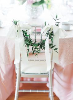 There's something so feminine about garland and ribbon: http://www.stylemepretty.com/missouri-weddings/2014/09/03/missouri-inspiration-shoot-at-longview-farm/   Photography: Carretto - http://www.carrettophoto.com/