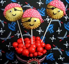 Pirate pie pops! I wonder if you could do an easier version with melting chocolates and nilla wafers?