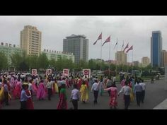Pyongyang - Traditional Mass dances - Dancing on Army Day - North Korea Army Day, North Korea