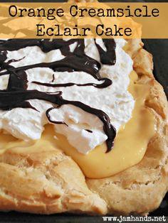 Orange Creamsicle Eclair Cake Recipe. #dessert #food #eclair