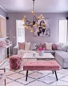 14 Marvelous Grey And Blush Living Room Decoration Ideas To Look More Awesome : Wohnzimmer Ideen Blush Living Room, Chic Living Room, Small Living Rooms, Living Room Designs, Living Room Decor, Home Design, Interior Design, Interior Ideas, Design Ideas