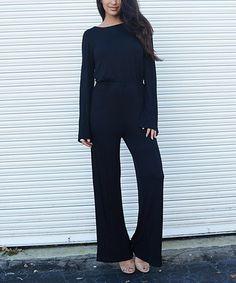 Love this Black Open-Back Tie-Waist Jumpsuit on #zulily! #zulilyfinds