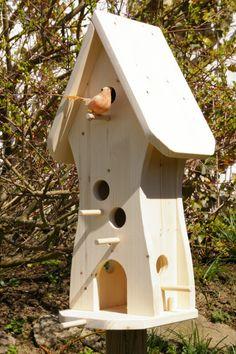 Vogelvilla-Vogelhaus-2 Etagen-Unbemalt #V5 von Storecorner24 auf DaWanda.com