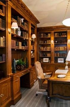 Traditional Home Office Library Design, Pictures, Remodel, Decor and Ideas - this is semi-close-ish to what I've had in mind for my someday home library / office.