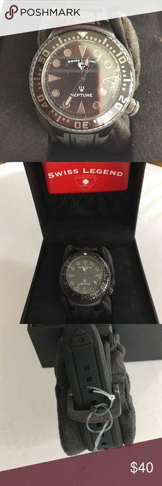 Brand NEW Swiss Legend Men's Black Dial Watch Brand NEW SWISS LEGEND Men's SL-11044D Neptune Collection Stainless Steel Watch Swiss Legend Accessories Watches