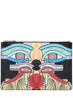 Givenchy Egyptian print coated canvas clutch